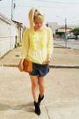 Yellow-laysa-rosa-blouse-blue-boyfriend-shorts-brown-vintage-bag-black-vin