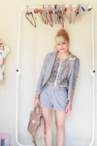 blue C & A shoes - silver Renner blazer - tan Acbrazil bag - silver Renner short