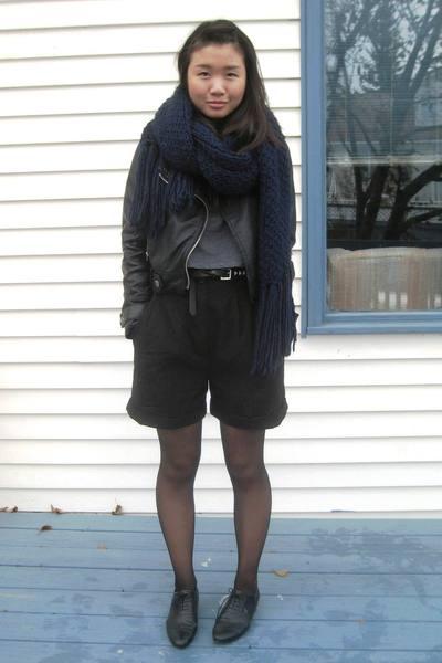 Zara scarf - zipia jacket - hand me down shorts - silence and noise t-shirt