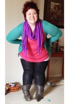 amethyst scarf - charcoal gray military boots - black leggings