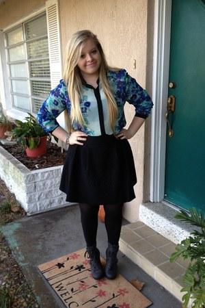 LC Lauren Conrad blouse - vera wang boots - Jennifer Lopez skirt