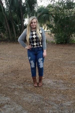 J Crew sweater - Steve Madden boots - elle jeans