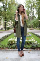 tan taupe suede Jeffrey Campbell wedges - olive green vintage jacket