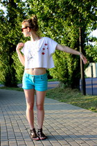 white je taime paris handmade shirt - carrot orange organic adidas bag - turquoi