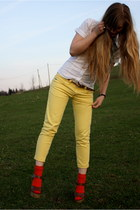 red socks - dark brown new look sandals - yellow DIY skinny pants