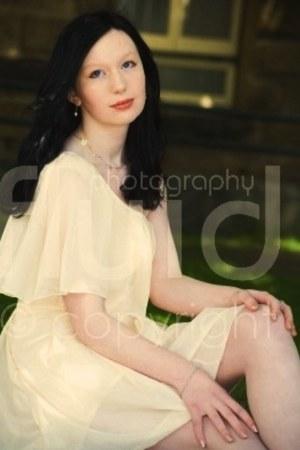 peach eBays shengyu1002 dress - ivory Equip earrings - light pink handmade neckl