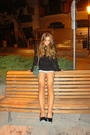 Black-ysl-shoes-blue-stradivarius-shorts-black-zara-dress-green-chanel-255