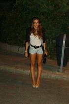 Zara blazer - vintage belt - Zara t-shirt - hazel shoes - Chanel 255 purse