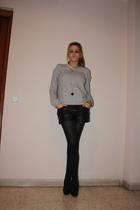 silver Zara sweater - black Zara shorts - black Gerbe tights - black hazel shoes