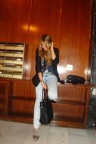 black Zara blazer - blue Zara jeans - silver Mango shoes - silver Zara belt