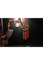 silver vintage necklace - orange vintage necklace - red vintage necklace - blue
