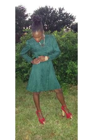 dark green vintage dress - gold Accessorize accessories