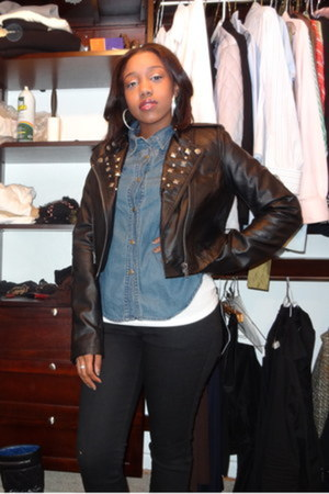 black material girl jacket - black leather quilted Chanel boots