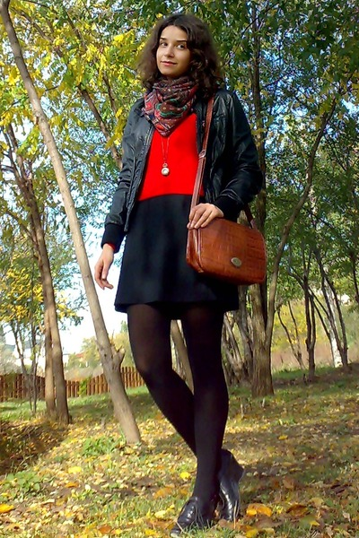 black leather jacket - black shift thrifted dress - red sweater