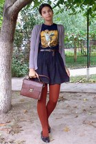 navy shirt - burnt orange tights - dark brown satchel Zara purse