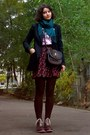 Forest-green-thrifted-cardigan-black-cherry-printed-skirt