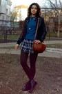 Black-jacket-black-cubus-shirt-brown-tights-burnt-orange-purse