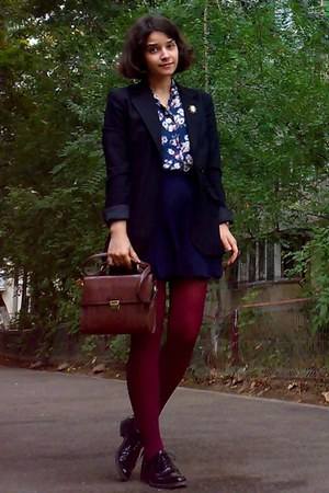 black leather shoes - black Zara blazer - crimson tights - dark brown Zara purse