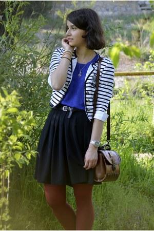 white nautica striped gifted blazer - brick red Marc Chantal purse