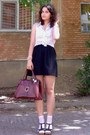 Crimson-vintage-purse-peach-socks-light-pink-floral-esprit-top