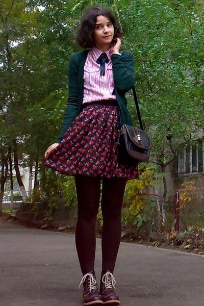 crimson leather boots - black Zara blazer - cream H&M shirt - dark brown tights