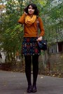 Black-tapestry-floral-gifted-skirt-burnt-orange-gifted-sweater
