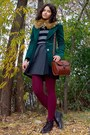 Forest-green-velvet-thrifted-blazer-gray-h-m-sweater-maroon-tights