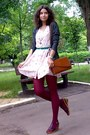 Peach-floral-thrifted-dress-maroon-tights-tawny-thrifted-purse