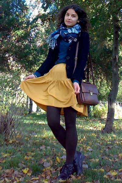 mustard thrifted skirt - brown tights - teal floral scarf