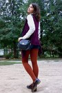 Crimson-asymmetrical-vest-black-leather-shoes-cream-thrifted-shirt