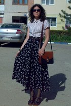 off white Amisu blouse - burnt orange Pigeon purse - black thrifted floral skirt
