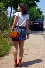 Blue-lace-crochet-gifted-skirt-white-shirt-tawny-thrifted-purse