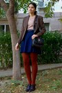 Brown-thrifted-blazer-burnt-orange-tights-black-thrifted-purse