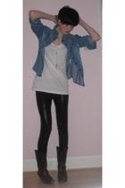 H&M jacket - Primark t-shirt - Topshop leggings - new look boots - necklace