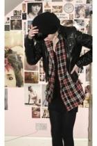 H&M hat - Topshop jacket - vintage shirt - American Apparel skirt - Topshop vest