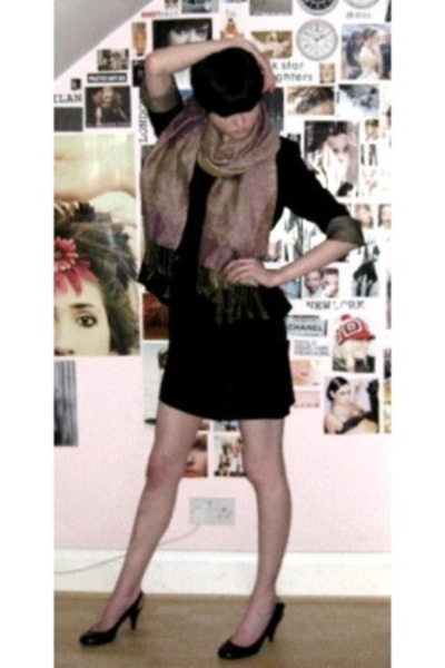 gift scarf - Topshop blazer - Topshop dress - Camden shoes