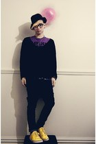 navy Lower jeans - purple Jay Jays top - black cotton on jumper - yellow Gravis