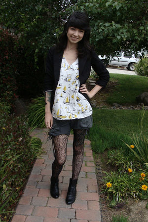 black Charlotte Russe blazer - yellow Ruche blouse - gray Diesel shorts - black