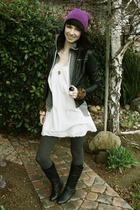 pink Forever 21 hat - black Forever 21 jacket - white Forever 21 dress - gray Fo