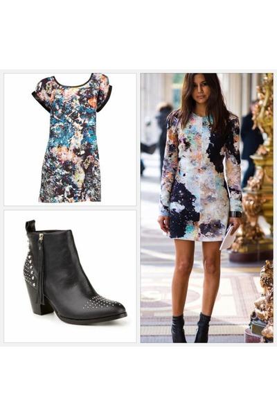 black Sportsgirl boots - periwinkle Sportsgirl dress