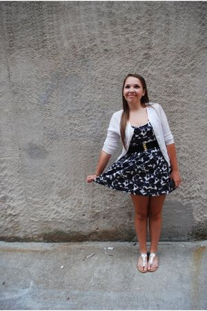 white cardigan - black Forever21 dress - silver Old Navy shoes