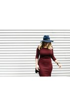 brick red Primark dress - navy wool fedora Topshop hat