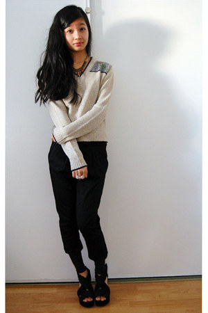 beige sweater - brown Forever 21 necklace - black H&M wedges - black harem pants