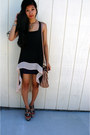 Black-hi-low-sheer-dress-beige-aldo-bag