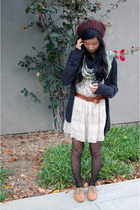 black polka dot Forever 21 tights - bronze shoes - dark brown hat