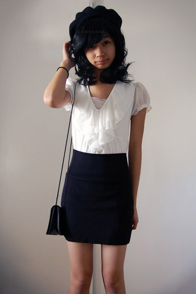 black Target hat - black American Apparel skirt - black purse - white blouse