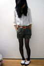 White-blouse-green-vintage-shorts-brown-belt-black-forever-21-tights-whi