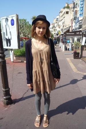 H&M hat - Zara dress - Vero Moda leggings - shoes
