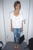 blouse - H&M shirt - Tally Weijl accessories - Zara leggings - shoes