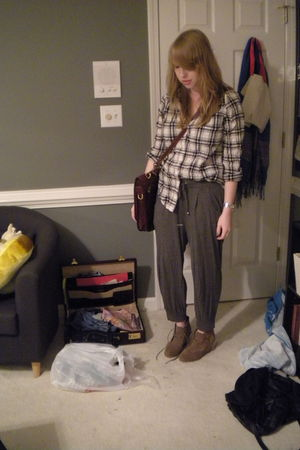 Forever 21 shirt - gray H&M pants - brown asos boots - brown bag - silver Michae